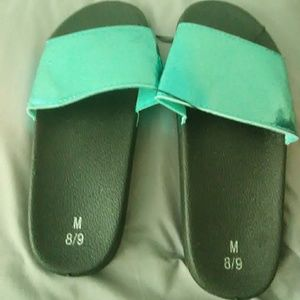 Shoes - Teal slip on sandals